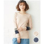 【nissen】拼布袖華夫紋針織上衣-2色-大尺碼預購