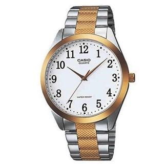 【CASIO】時尚紳士金銀富豪腕錶-數字白面(MTP-1274SG-7B)