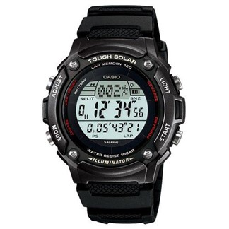 【CASIO】專業級太陽能面板潮流電子錶-黑框(W-S200H-1B)