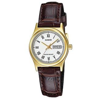 【CASIO】文青女孩金框羅馬時刻皮帶腕錶-白面(LTP-V006GL-7B)