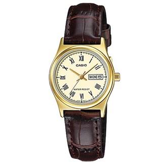 【CASIO】文青女孩金框羅馬時刻皮帶腕錶-黃面(LTP-V006GL-9B)