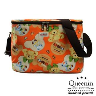 DF Queenin - 野餐系繽紛風輕便防水保溫保冷袋-泰迪熊橘
