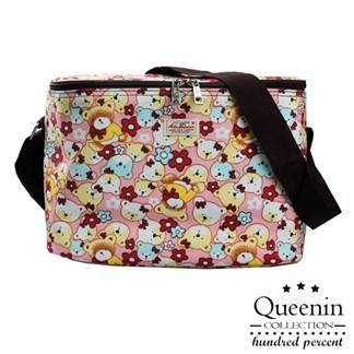 DF Queenin - 野餐系繽紛風輕便防水保溫保冷袋-熊熊頭粉