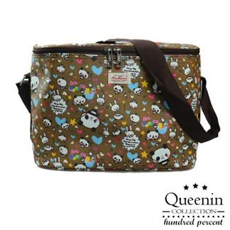 DF Queenin - 野餐系繽紛風輕便防水保溫保冷袋-熊與兔咖