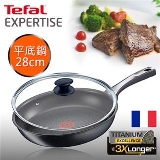 Tefal法國特福鈦廚悍將系列28CM不沾平底鍋+玻璃蓋(電磁爐適用)