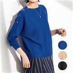 【CECILE】鈕釦點綴蝙蝠袖針織上衣-3色-女裝預購